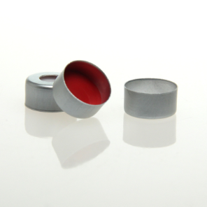 "SILVER, 11mm Open Top Crimp Cap with CLEAR PTFE/ Red Silicone 1mm (.040"") thick"
